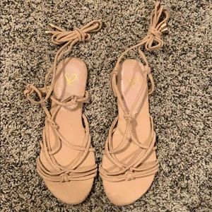 WINDSOR || Lace-Up Nude Sandals